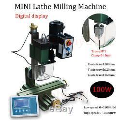 100W Digital Display Mini Metal Lathe Milling Machine DIY Millier Turning Wood