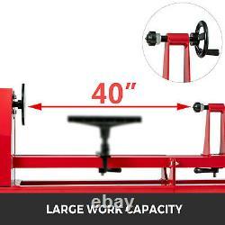 40''14 Wood Turning Lathe Machine 120V 4 Speed 400W Low Noise MT1 Spindle