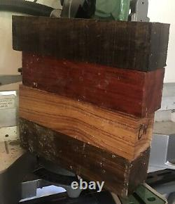 4 Exotic Wood Blanks Combo 3x3x12 Tool Handles Mallets Peppermills Lathe Turning
