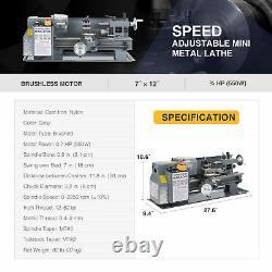 550W 7x12 Inch 2250rpm Mini Metal Lathe for Turning Cutting Drilling & Threading