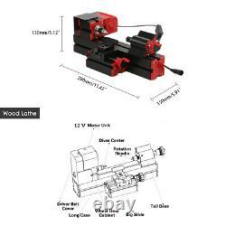 6 in 1 DIY Mini Wood Metal Motorized Lathe Machine Woodworking Turning Tool K8D2