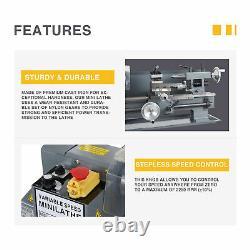 7x12 2250rpm Mini Lathe Machine for Turning Cutting Drilling Threading Metal