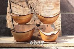 Four, Small, Cherry, WOOD, Hand Made, Lathe Turned, Wooden, Bowls