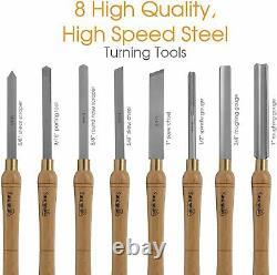 HSS Woodworking Lathe Chisel Set 8 Piece Set For Wood Turning, Hardwood Handles