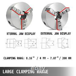 K11-200 8 3 Jaw Lathe Chuck Reversible Jaw Wood Turning Tool 3600r/min 3-M10