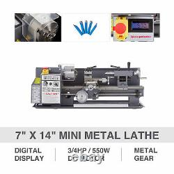 New 7x 14 Mini Metal Lathe 550W Metal Gear Digital Display With 5 Turning Tools