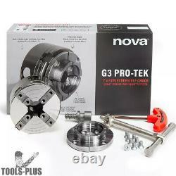Nova Lathes 48291 PRO-TEK G3 1x 8TPI Direct Thread Turning Chuck + Jaws Set New