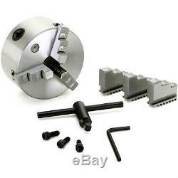 Precision 3-Jaw 6-1/4 Self-Centering Metal Turning Lathe Plain Back Chuck New