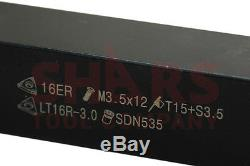 Shars 7pcs 3/4 Indexable Carbide Turning Threading Lathe Tool Insert Set New A