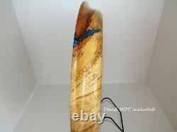 Wood plate epoxy resin inlaid handmade lathe turned spalted pecan wood plate