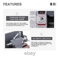 1.5hp 8,7 × 29,5 Mini Tour De Métal Engrenage Métallique 5 Outils De Tournage Mis À Jour Automatique