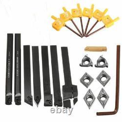 7pcs 10mm Lathe Boring Bar Turning Tool Holder + 7pcs Inserts Carbide + Clés