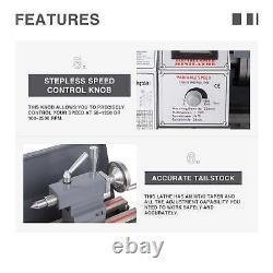 8.7x 23.6 Mini Metal Lathe1100w Metal Gear Brushless Motor 5 Outils Rotatifs