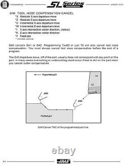 Haas Sl Series Cnc Tourning Center Lathe Programmeurs Manual 894