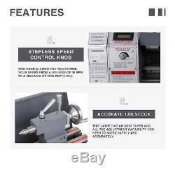 Mise À Jour Automatique 1.5hp 8,7 × 29,5 Mini Lathe Metal Gear Métal 5 Outils De Tournage