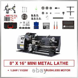 Nouveau 8 × 16 Mini Metal Lathe 1100w Metal Gear Digital Display 9 Outils Tournants